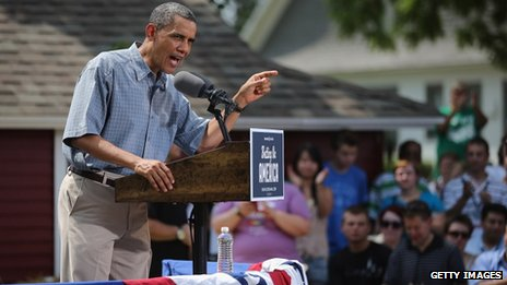 President Barack Obama campaigns in Maumee, Ohio, on 5 July 2012
