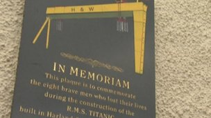 The memorial plaque is outside the Harland & Wolff Welders club