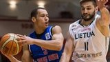 Great Britain's Andrew Lawrence tries to drive past Lithuania's Linas Kleiza