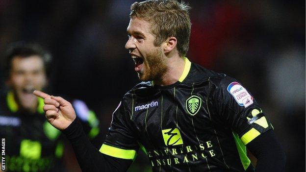 Adam Clayton celebrates scoring for Leeds United