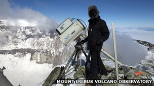 Dr Clive Oppenheimer taking readings from the Mount Erebus volcano