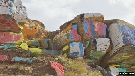 Art on the side of an Iraqi mountain