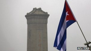 Cuba national flag in front of the Monument to the People's Heroes, at Tiananmen Square in Beijing
