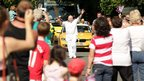 Clive Coles carries the Olympic Flame in Woodbridge