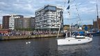 Torchbearer Ranvir Sandhu arrives in Ipswich on a boat