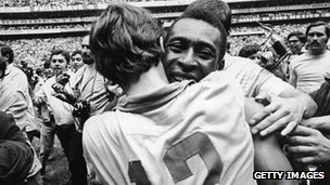 Pele celebrates 1970 World Cup win
