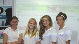 Students from St John&#039;s School in Cyprus, in front of the live debate page