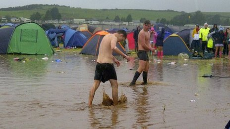 Wakestock revellers try to make the most of the festival, despite the weather