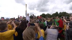 Olympic Torch at Highfields School in Derbyshire