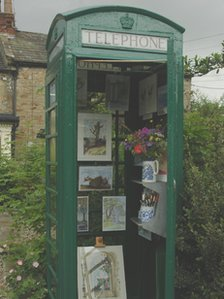 The green telephone box is one of only five in the UK. Photo by Phil Hunt.