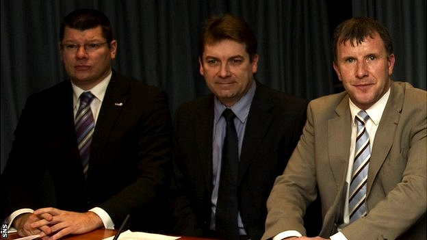 Neil Doncaster, Scottish Football League chief executive David Longmuir and Stewart Regan
