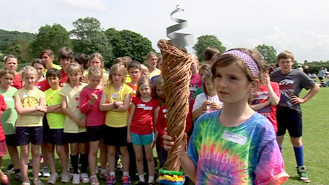 Pupils in Cheddar, Somerset held their own torch relay in their village.