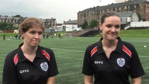 Footballers Kirsteen Martin and Carol McCluskey