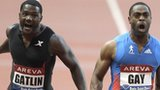 Tyson Gay wins the 100m men's race ahead of Justin Gatlin, left, at the Diamond League athletics meeting in Paris