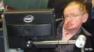 Prof Hawking with Intel equipment