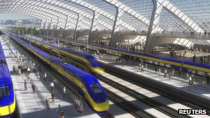 An artist's rendition courtesy of the California High-Speed Rail Authority shows a station