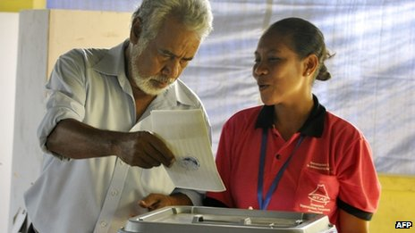 PM Xanana Gusmao casts his vote for East Timor parliamentary elections in Dili, on 7 July 2012