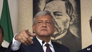 Mr Lopez Obrador at news conference - 6 July