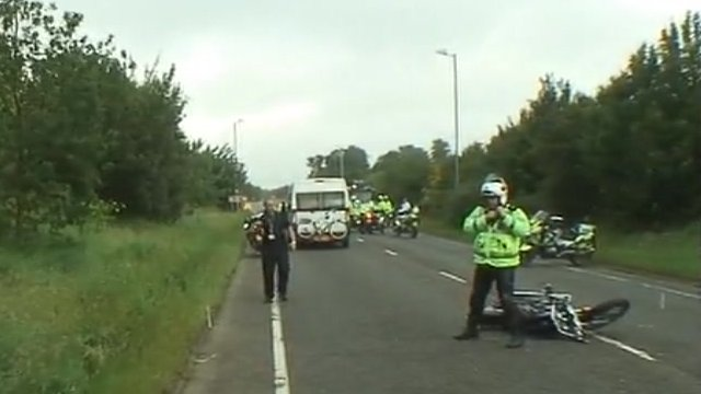 Scene of crash between two motorcycles