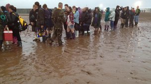 Queuing in the mud at Wakestock