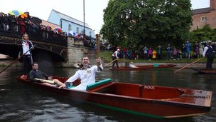 Edward Roberts on a punt on the River Cam 