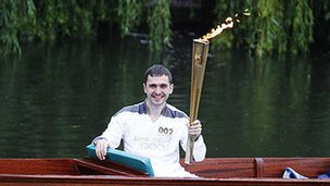 Ed Roberts punts with torch, pic courtesy of Claire Borley