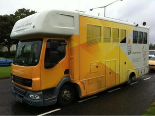 Media 1, AKA the horsebox, home of bbctorchcam