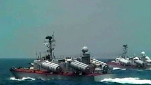 A handout picture released by the official Syrian Arab News Agency (Sana) on 7 July shows naval Syrian vessels during an exercise at an undisclosed location