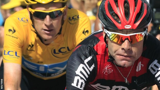 Cadel Evans (right) crosses the finish line with Bradley Wiggins right behind him