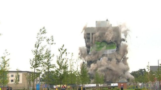 The former Massey Ferguson tower being demolished