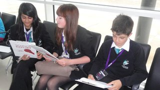 Chorlton High School Reporters Nidda, Megan and Ryan