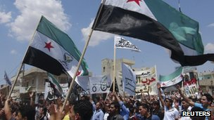 Syrian anti-government protest being held in Binsh, near the northern town of Idlib on 8 July 2012