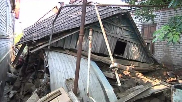 A house destroyed by flooding