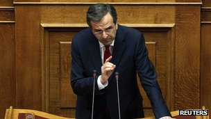 Greek Prime Minister Antonis Samaras speaking in parliament during a no-confidence debate on 8 July 2012