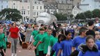 600 local school children flank the plane on Llandudno promenade
