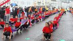 Local school children performing on Llanduno promenade