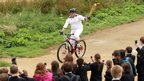 "Dan Jarvis rode with the flame around Hadleigh Farm, the site of the Olympic mountain biking venue. Dan said: ""It was fantastic"" - but added: ""It was sheer terror keeping a grip on the torch."""
