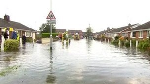Flooded street in Goole