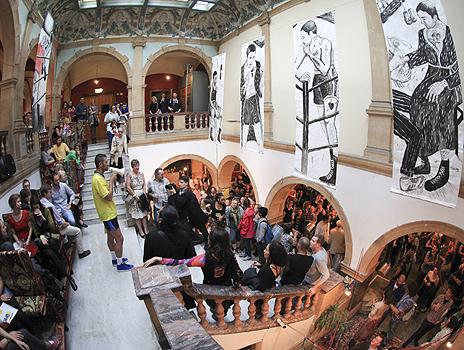 The Battersea Arts Centre (BAC) with Joao Sanchez's El Boxer Amateur visible above the foyer. Photo: Ratao Diniz