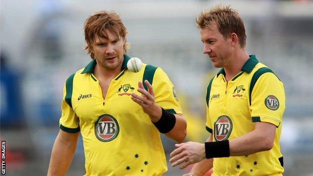 Shane Watson (left) and Brett Lee