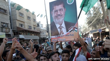 Palestinians in Gaza celebrate the victory of Mohammed Mursi (File)
