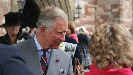 Prince Charles speaking to crowds outside St Asaph cathedral, Denbighshire