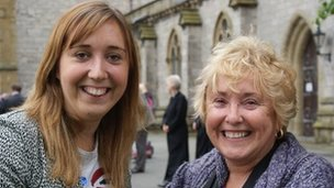 Jennie Thomas (left) and her mother Margaret at St Asaph cathedral
