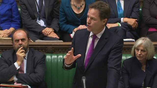 Nick Clegg speaking in the House of Commons