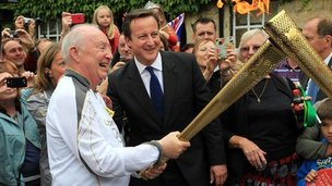 David Cameron with Clive Stone