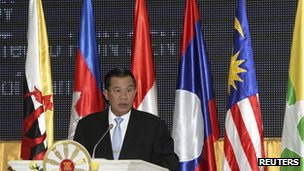Cambodia's Prime Minister Hun Sen addresses the audience during the opening ceremony of the 45th Asean Foreign Ministers' meeting in Phnom Penh 9 July, 2012
