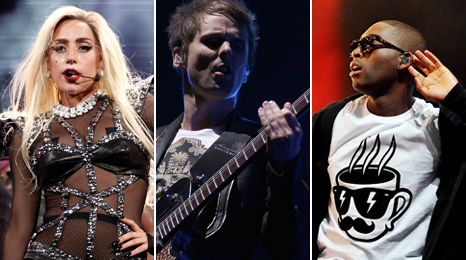 Lady Gaga, Muse and Tinie Tempah