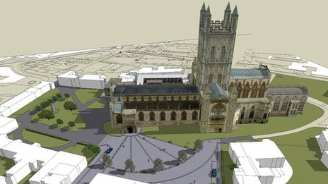 An artists' impression of how the car park at Gloucester Cathedral could be re-worked