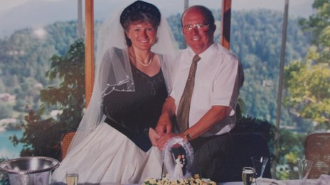 Christine and Wilfrid Kirkham on their wedding day in 1995