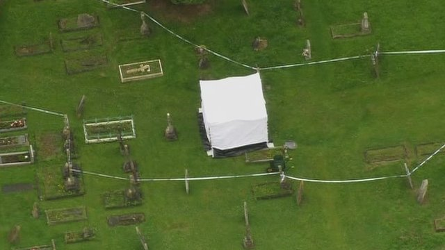 Aerial view of the churchyard where the body of Peter Reeve was found